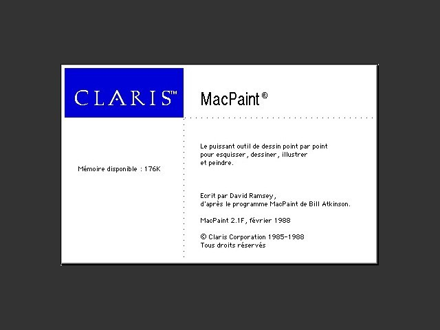 Claris MacPaint 2.1F / About Screen