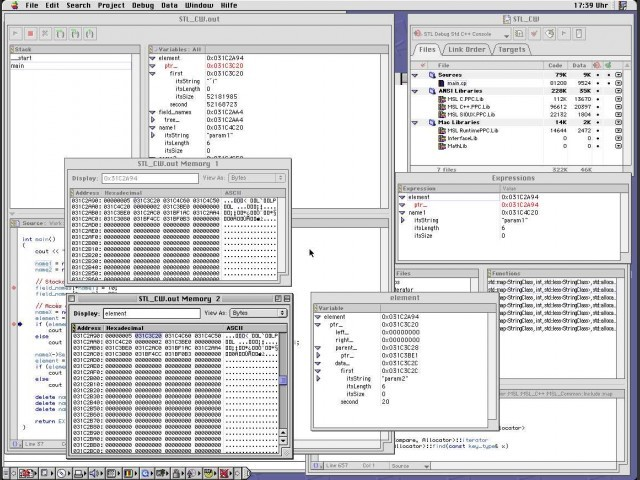 Debugger with information windows: Elements and Raw memory