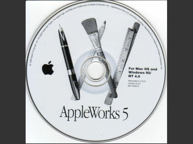 691-2040-A,,AppleWorks v5.0.3. For Mac OS and Windows 95,NT 4.0 (CD) (1998)
