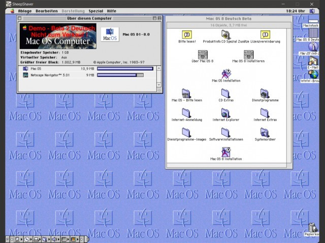 Contents of Disc and Mac OS 8 Beta running