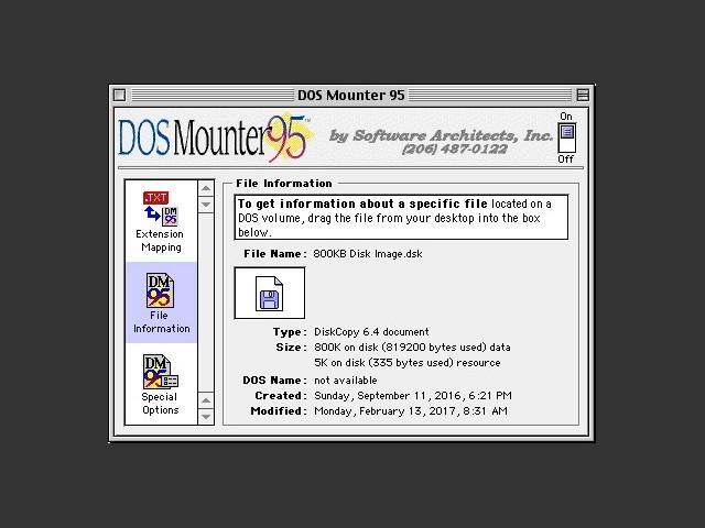 DOS Mounter 95 control panel 2