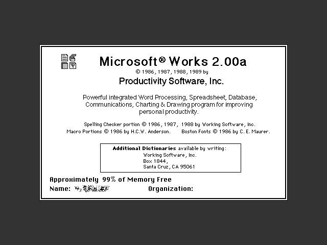 Microsoft Works 2.00b (1989)