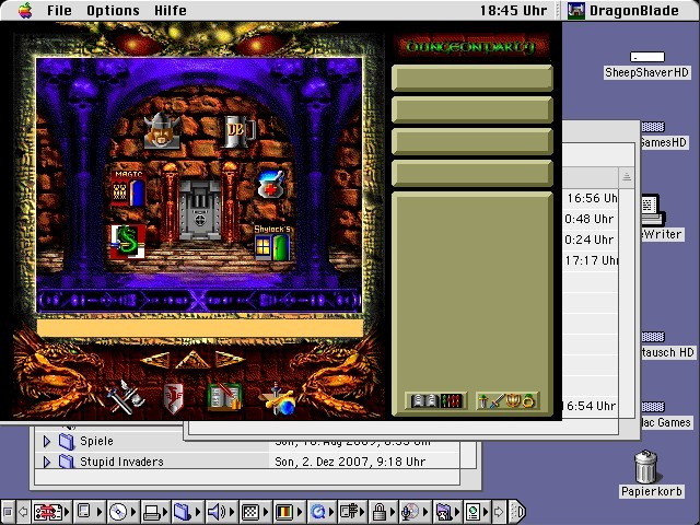 Main screen of the game displays various areas you can visit.