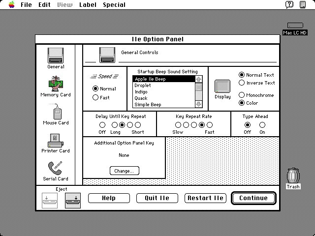 IIe Card configuration software