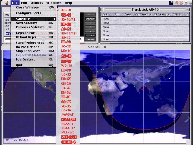 MacDoppler PRO in action, showing all available satellites to track