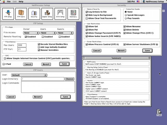 NetPresenz interface