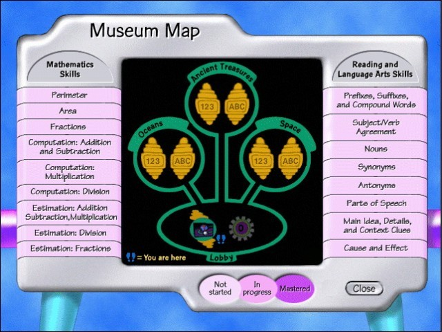 Museum map screen (topics menu)