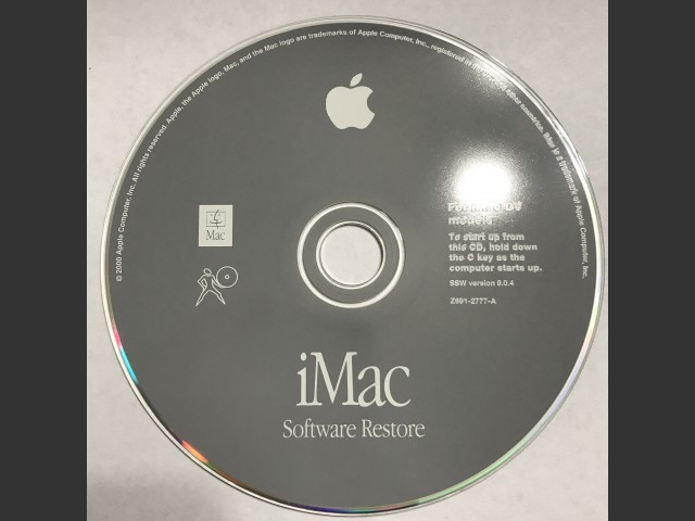 iMac DV. Software Install / Restore. SSW v9.0.4 (CD) (2000)