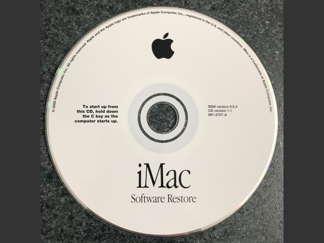iMac. Software Install & Restore. SSW v9.0.4. Discs v1.1_2000 (CD) (2000)