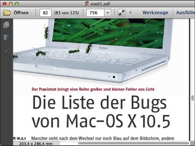 """""""List of the bugs of Mac-OS X 10.5"""""""