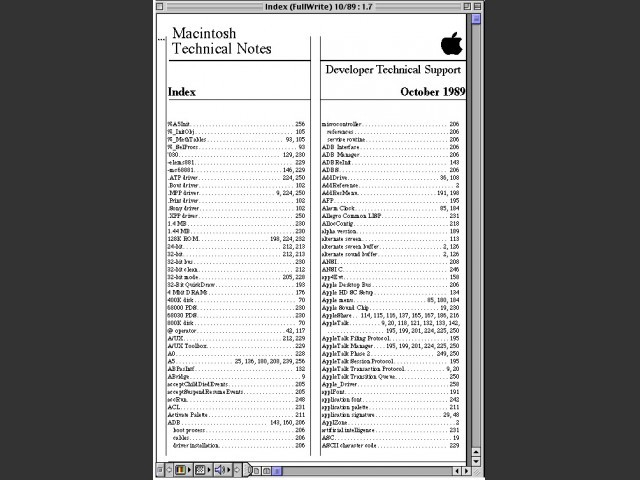 Tech notes October 1989 index preview
