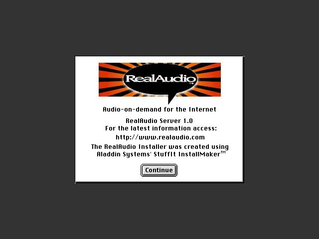 RealAudio Server installer splash screen