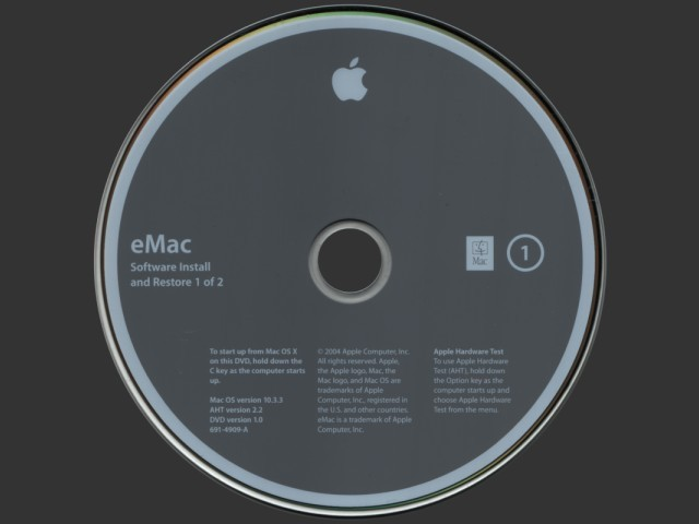 "eMac 2004 (17"" G4 USB 2.0) Software Install and Restore (Mac OS X 10.3.3) (2004)"
