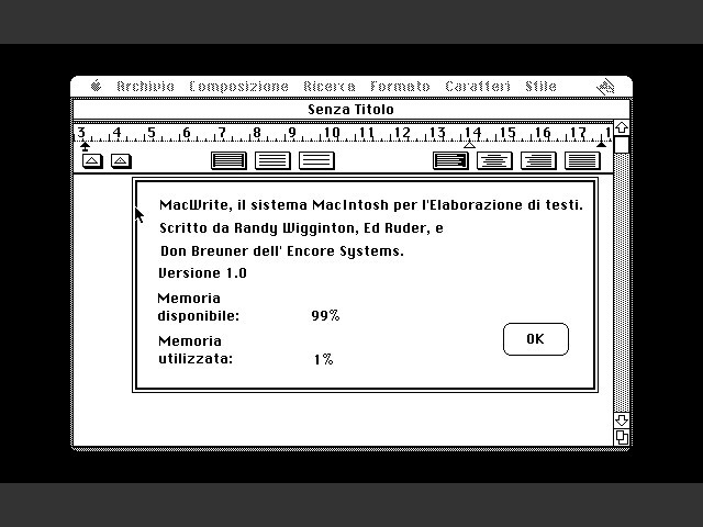 MacWrite 1.0 in Italian - Copyright note