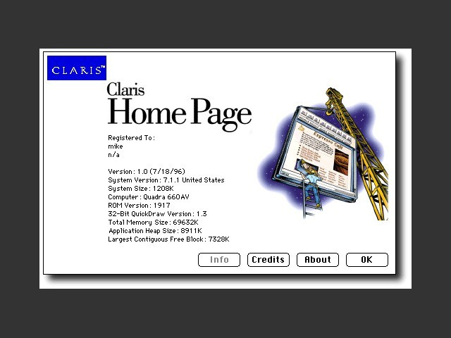 About Claris Home Page 1.0  dialog window