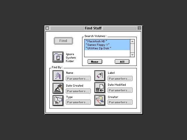 Find Stuff parameters window