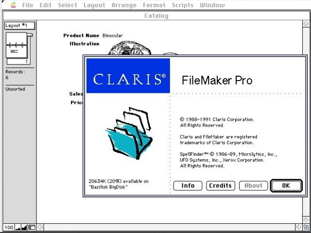 Claris FileMaker Pro 1.x (1991)