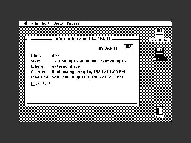 """BS Disk II"" - very early Macintosh utilities, MacTalk files (1984)"