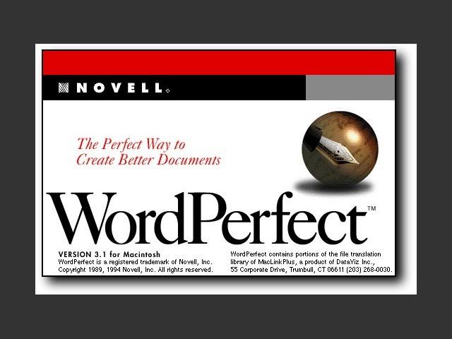 About WordPerfect 3.1 splash