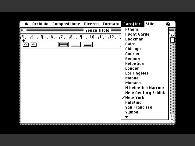 MacWrite 1.0 in Italian - Fonts menu