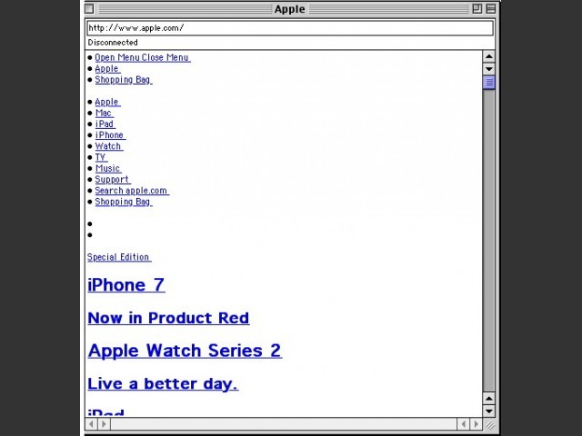 Wannabe v1.0b14 visiting Apple's website