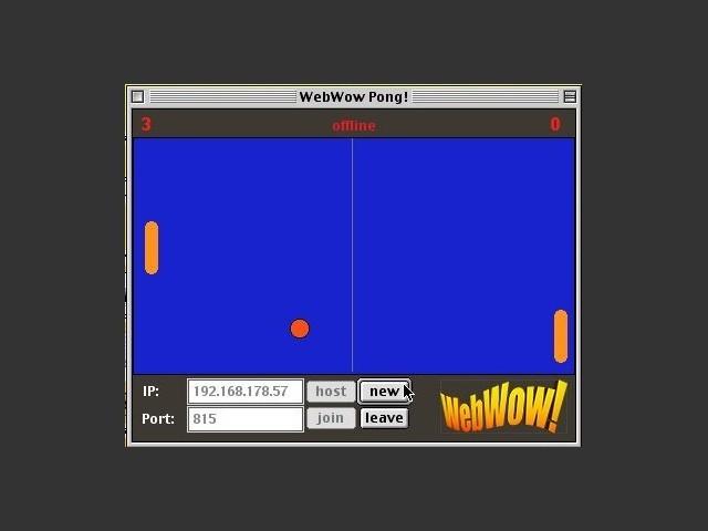WowPong hosting LAN multiplayer on mac OS 9