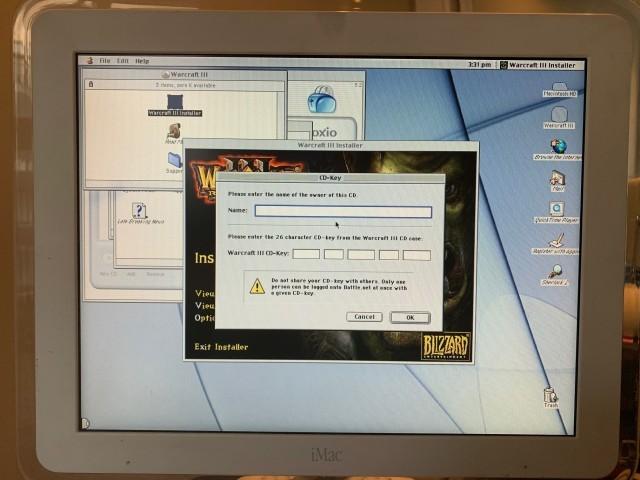 License key dialog on iMac G4