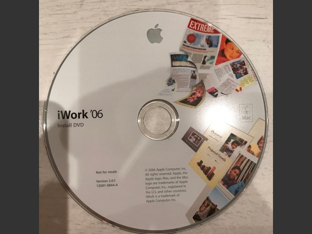 691-5844,A,1Z, iWork 06 v2.0.1 Install / Not for resale (DVD) (2006)
