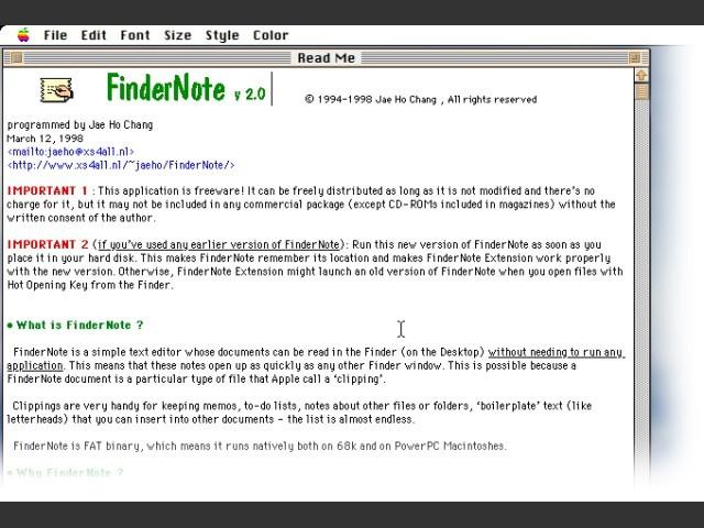 FinderNote 2 0 - Macintosh Repository