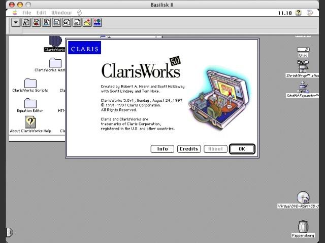 ClarisWorks 5, splash screen (Mac)