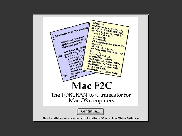 Mac FORTRAN-to-C translator (F2C) (1998)