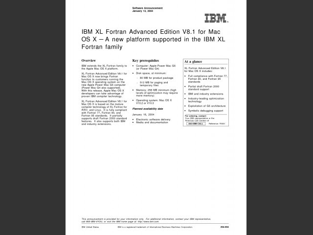 IBM XL Fortran Advanced Edition 8.1 for Mac OS X (2004)