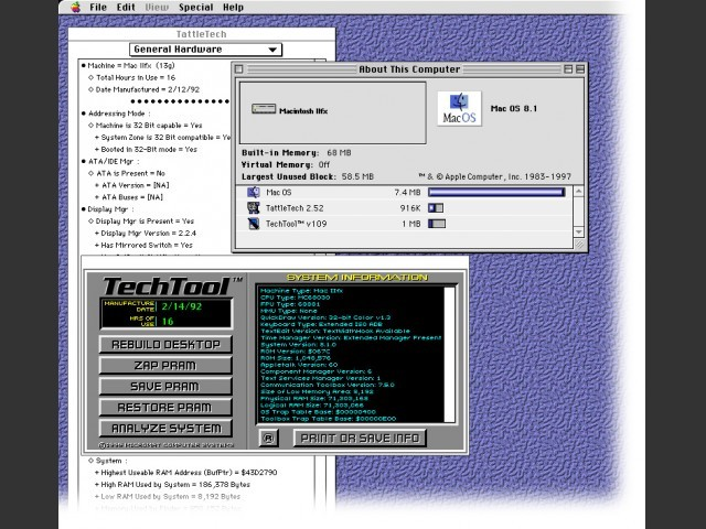 Mac OS 8.1 for a Mac IIfx (or maybe just a 68030) (1998)
