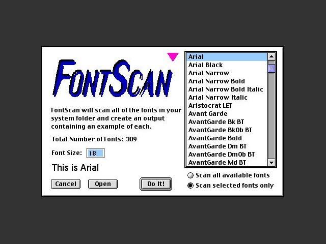 FontScan choose font(s) window