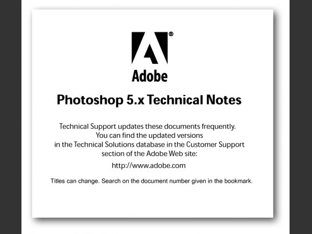Adobe Photoshop 5.x Technical Notes (1999)