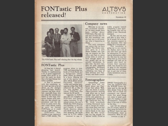 Altsys Corporation Newsletter (1986)