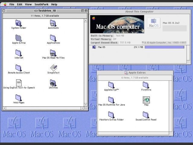 "Mac OS 8.2a2 (alpha) ""SouthPark"" (1998)"