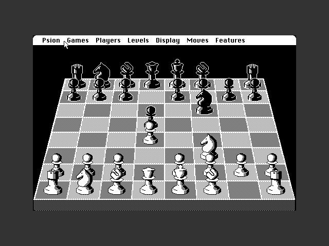 Psion Chess gameplay, with pawns and knights charging ahead.