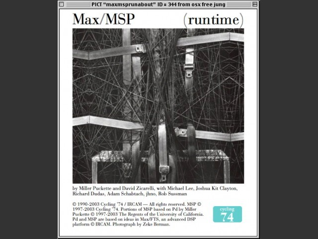 Max/MSP 4.2.1 / About screen