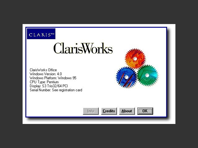 About ClarisWorks 4.0 (Windows) splash screen