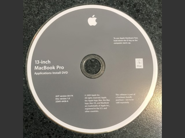691-6458-A,2Z,13-inch MacBook Pro. Applications Install DVD.AHT v3A174. Disc v1.0 (DVD... (2009)