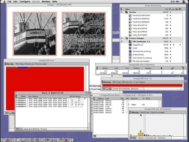 ZoneRanger analysis windows: Heap counts, 2D & 1D memory view, Block histogramm, Block list &...