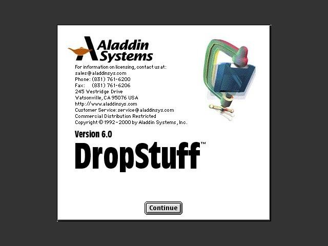 DropStuff 6.0 installer splash screen