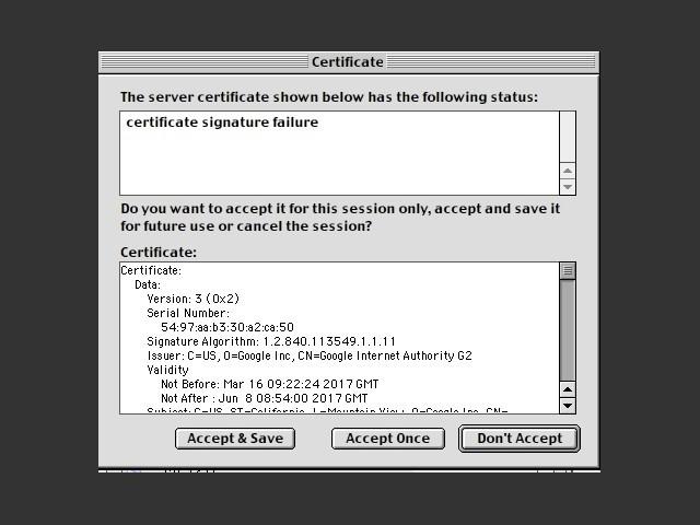 Accepting modern certificates