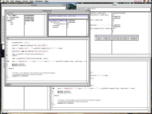 Debugger with auxiliary window and expression display