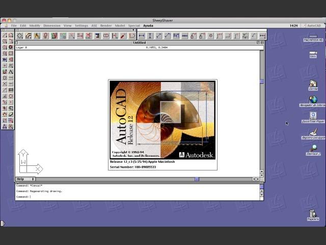 AutoCAD R12 running under Mac OS 9