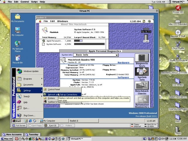 Running Windows 2000 Beta 3 and Basilisk II emulator on VPC 3