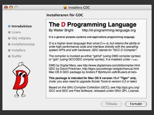 D Language for OS X (2008)