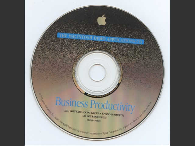 CDRM1086690,The Macintosh Demo Applications CD. Business Productivity. ADG Software access group.... (1993)