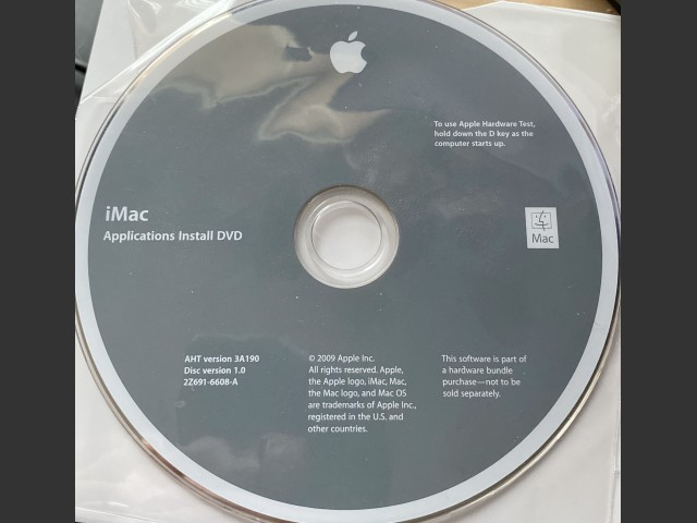 2Z691-6608-A iMac Applications Install DVD Disc Version 1.0 (2009)